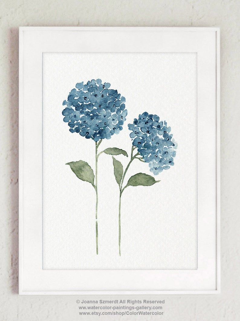 Hydrangea Blue Flower Watercolor Painting Colorful Botanical Etsy In 2020 Blue Flower Painting Watercolor Flowers Paintings Hydrangeas Art