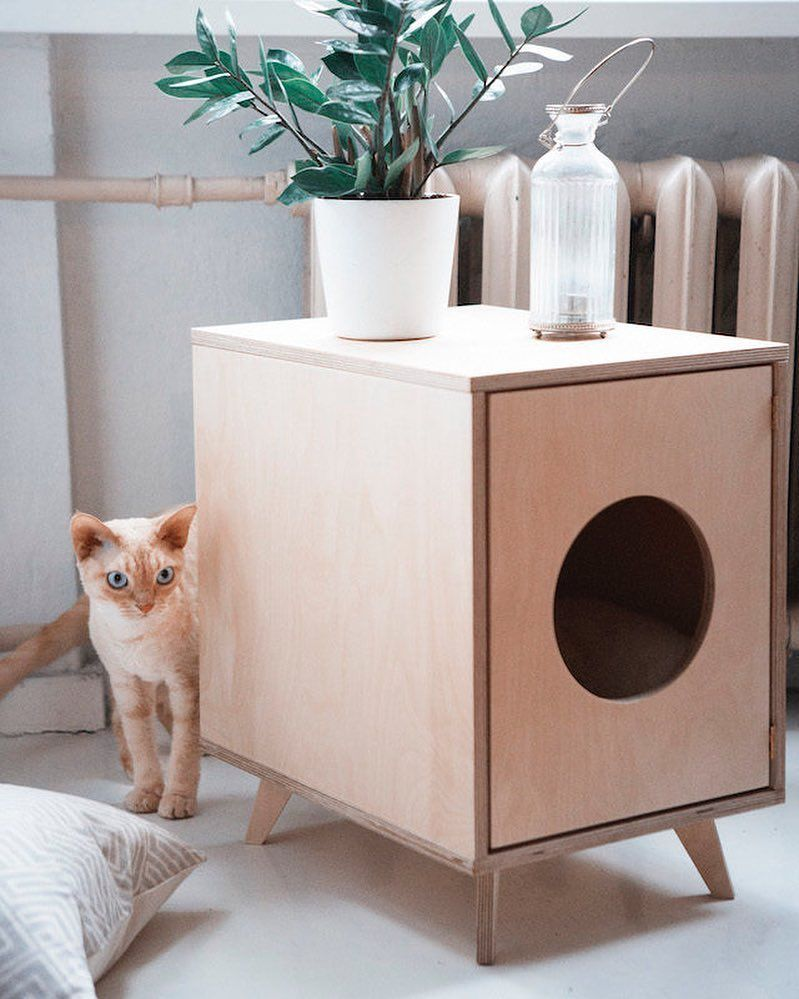 Cute Pet House Cat Litter Cover For Cool Cats As Modelled By Juno By Blackv In 2020 Pet Furniture Diy Cat Bed Cat Furniture