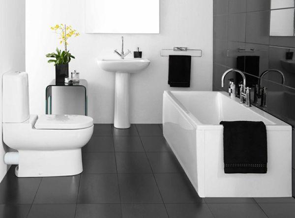 Schwarzer Fliesenboden Im Luxus Badezimmer Mit Gelben Blumen - 77 ... Schwarze Badezimmer Ideen