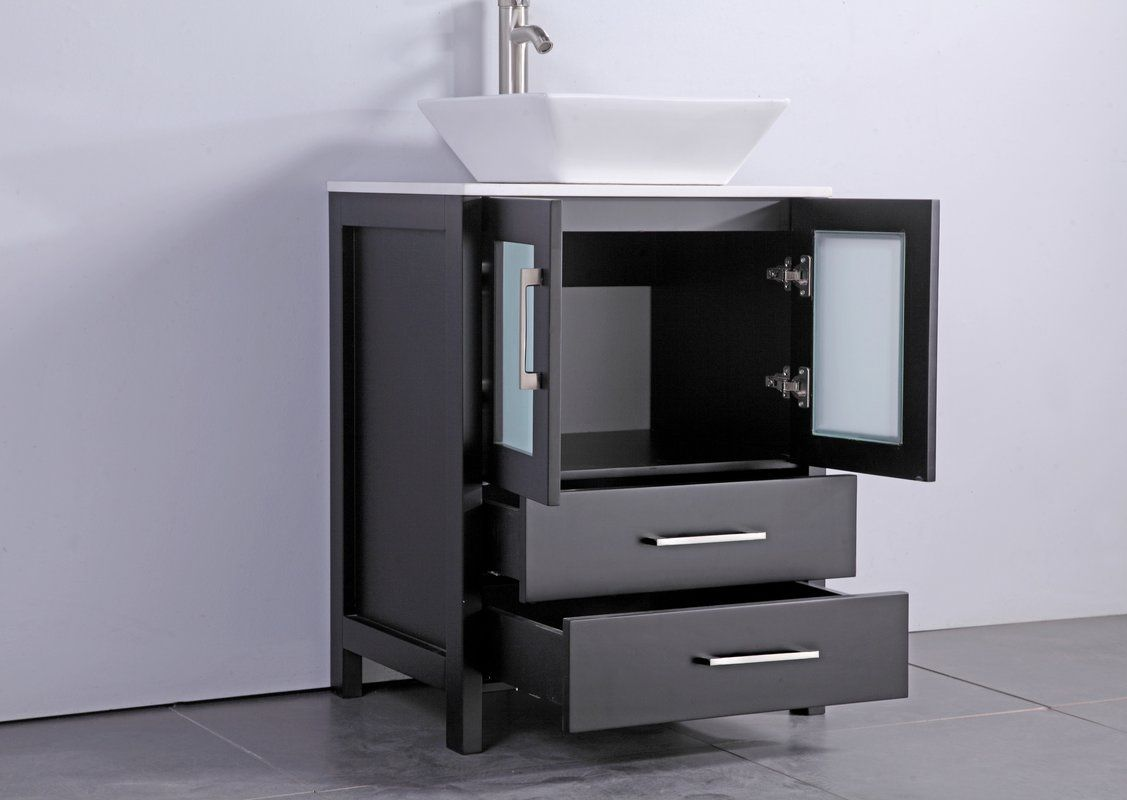 Sets bathroom vanity ari kitchen second - Meeki 24 Single Bathroom Vanity Set With Mirror