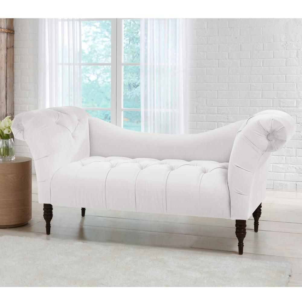 Skyline Furniture Tufted White Chaise Lounge In Mystere Snow Tufted Chaise Lounge Furniture