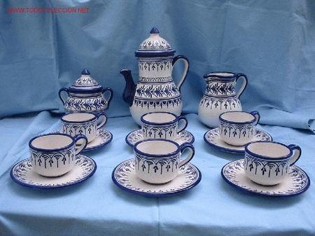 Juego de cafe en ceramica de talavera,de la serie bandolera ...