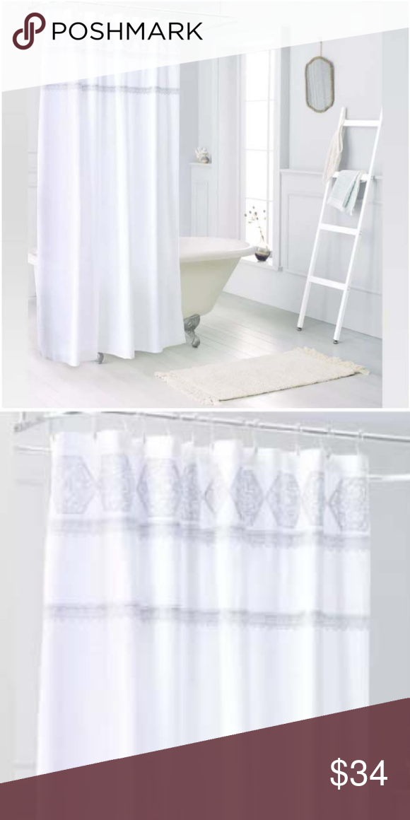 Medallion Sheer Embroidery Shower Curtain White Nwt With Images