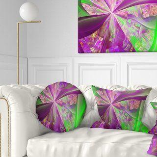 Designart 'Pink Green Fractal Curves' Abstract Throw Pillow