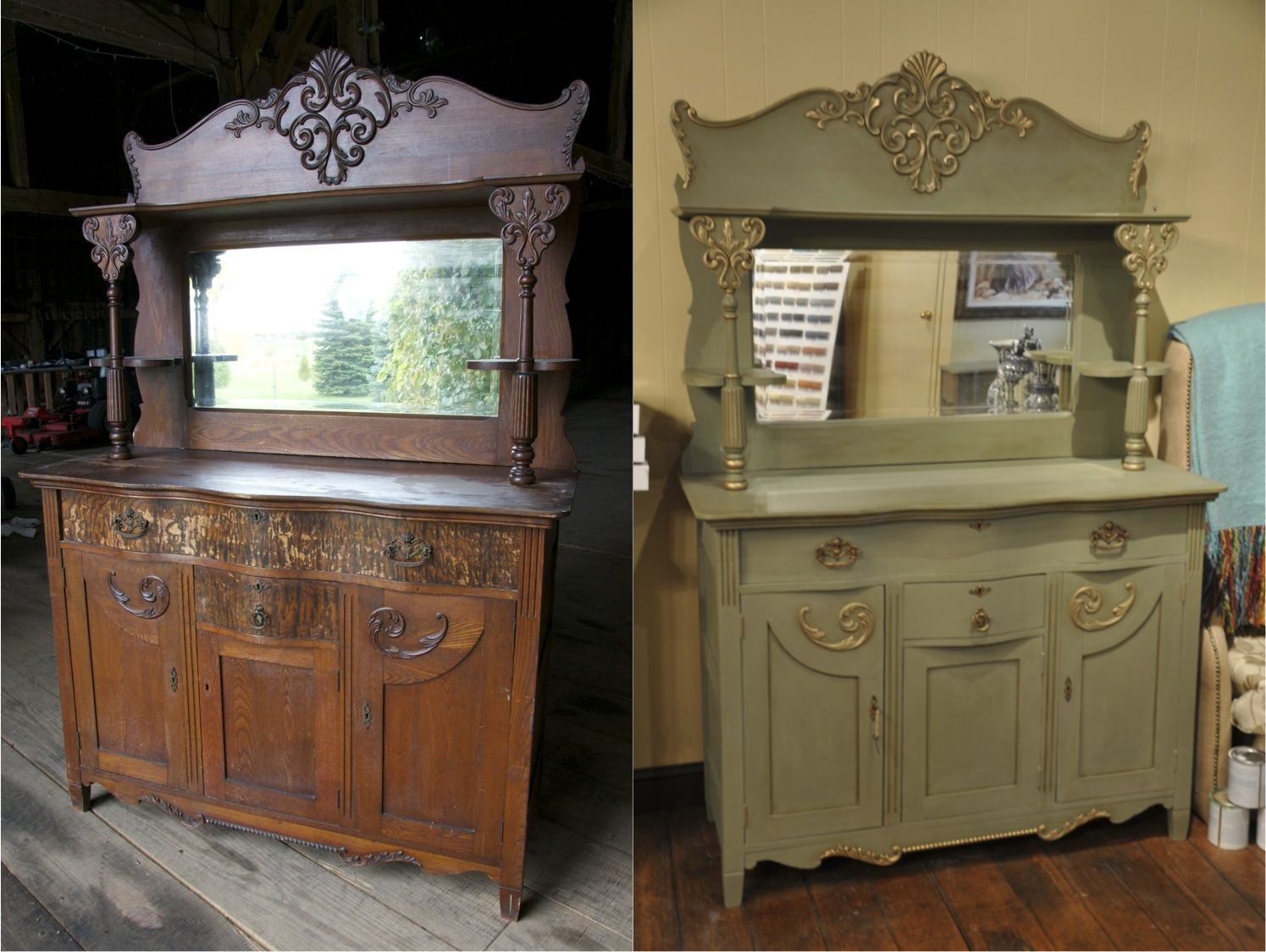 This Antique Oak Buffet Amp Mirror Are Painted With Chalk