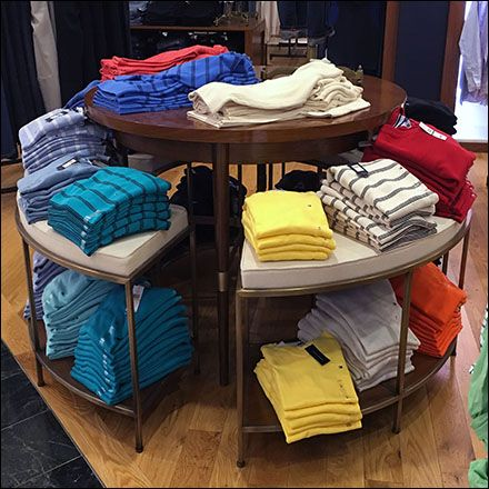 Tommy Hilfiger Tiered T Shirt Table Gets Upholstered Fixtures Close Up Shirt Display Shirt Storage Tommy Hilfiger