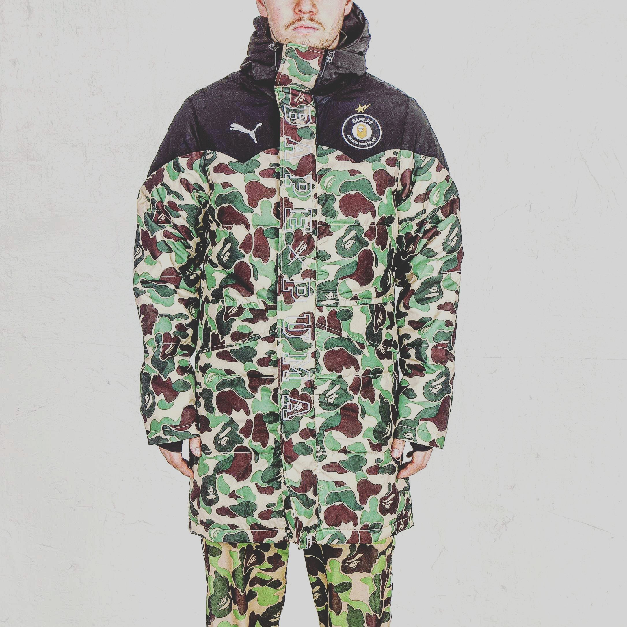 b1b80b3aa609c Bape x Puma camo coat | fashion in 2019 | Camo fashion, Mens fashion ...