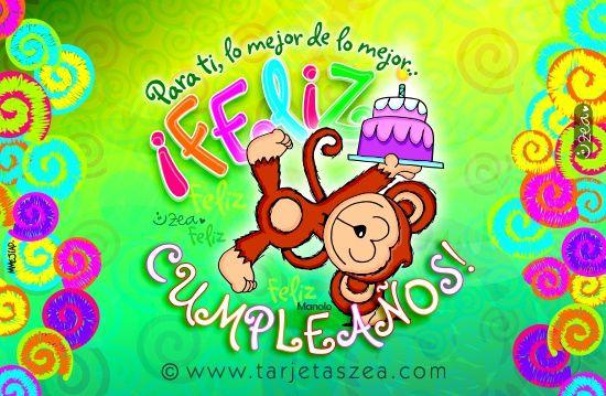 Tarjeta de cumpleaños, lo mejor para ti-Mono Manolo parado en una mano sosteniendo un pastel de cumpleaños. © ZEA www.tarjetaszea.com