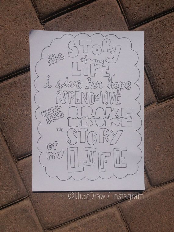 One Direction Story of My Life Lyric Collage Black and ...
