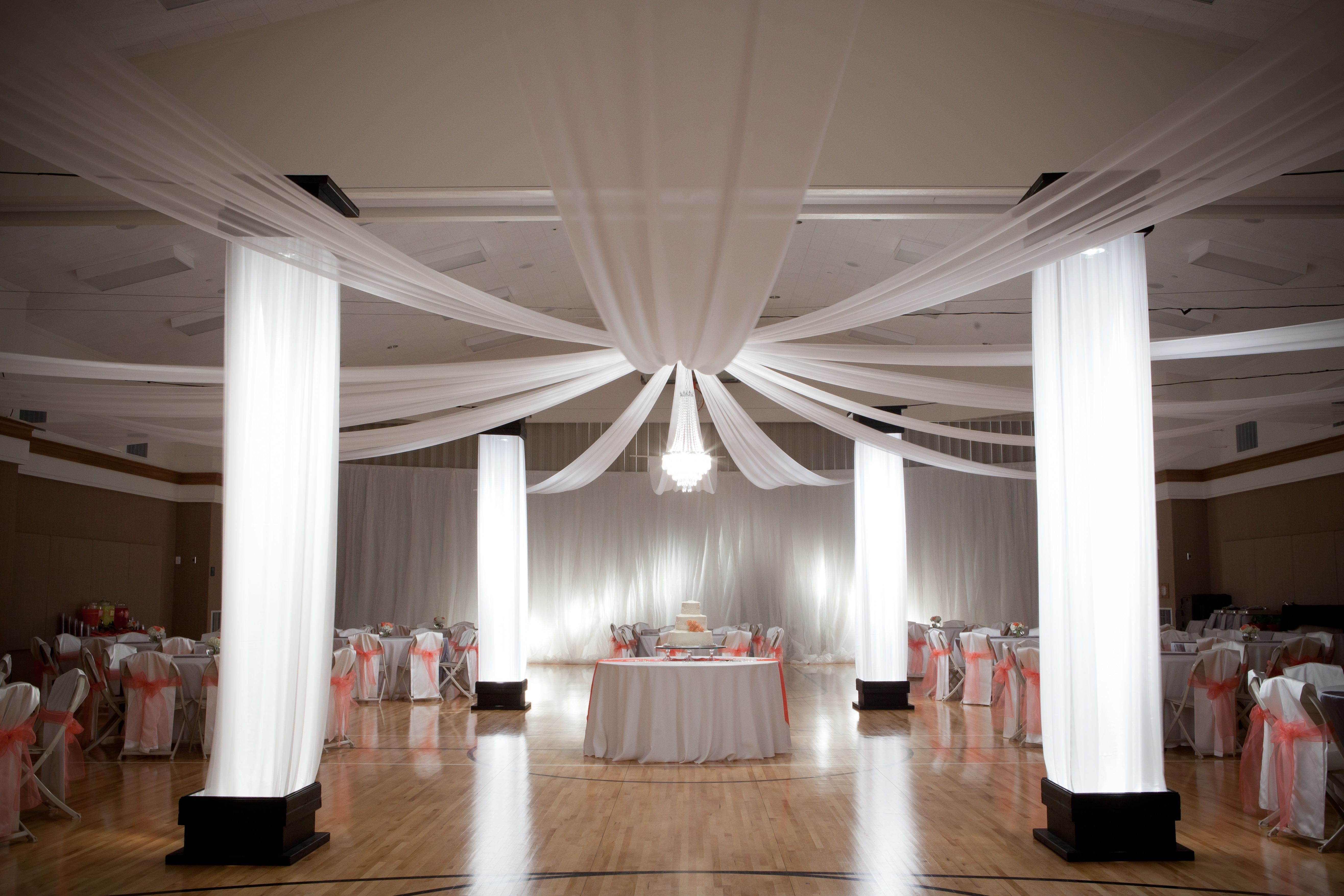 diy wedding reception lighting. Gym Reception #lighting #drapes Diy Wedding Lighting D