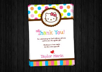 Hello Kitty Thank You Card #hellokitty #hellokittybirthday #hkbirthday #hellokittyinvitation #hellokittyinvite #printableinvitation #hk #hkinvitation #hellokittyparty