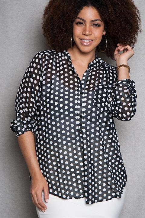 8e0346015df Polka Dot Chiffon Plus-Size Blouse with 3 4 Sleeves - Black from Zenobia at Lucky  21  black -  chiffon