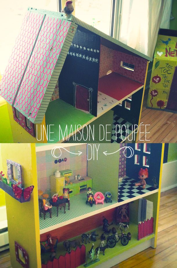 tuto maison poupee puppenhaus pinterest puppen kindergarten basteln und basteln. Black Bedroom Furniture Sets. Home Design Ideas