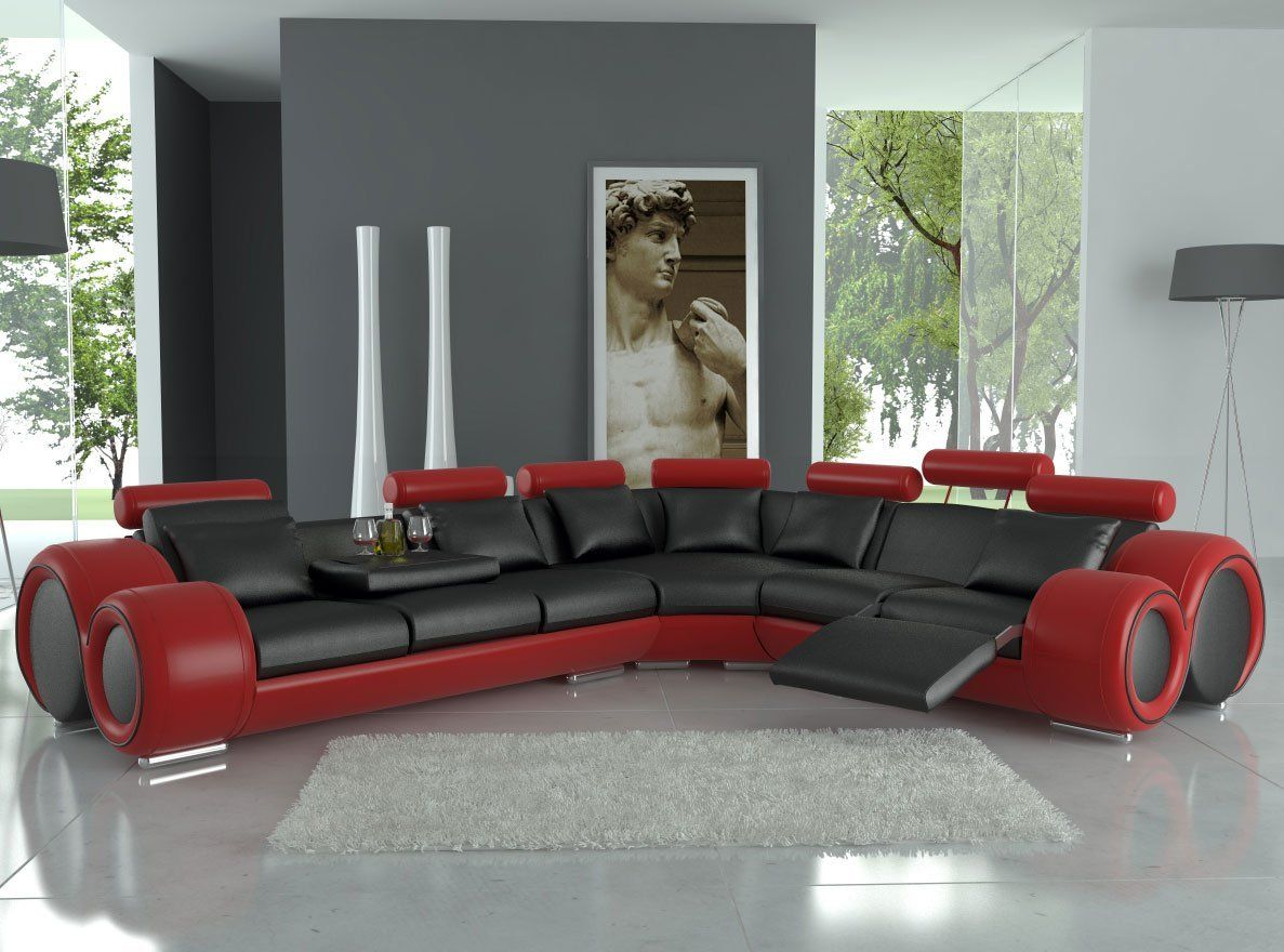 Exceptional Modern Franco Leather Sectional Sofa   Black / Red Great Pictures