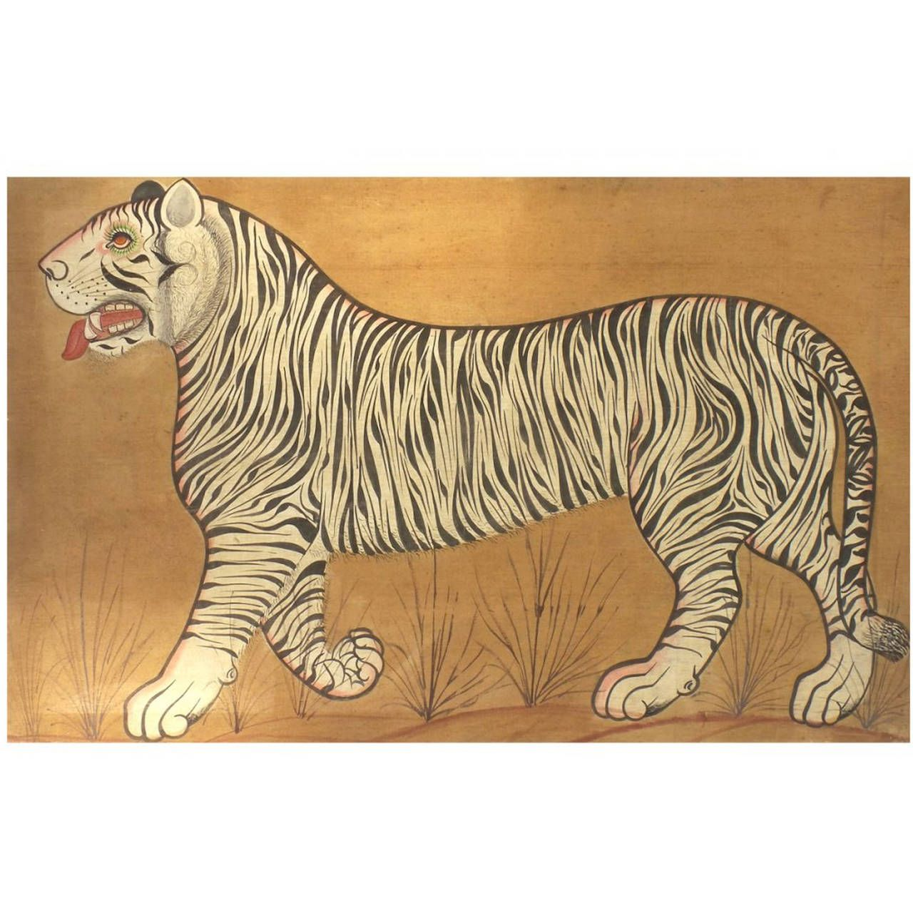 Indian Tiger Painting On Cloth In 2019
