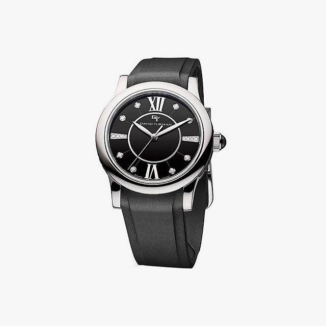 David Yurman classic 34mm rubber Swiss quartz watch, $1,500, davidyurman.com