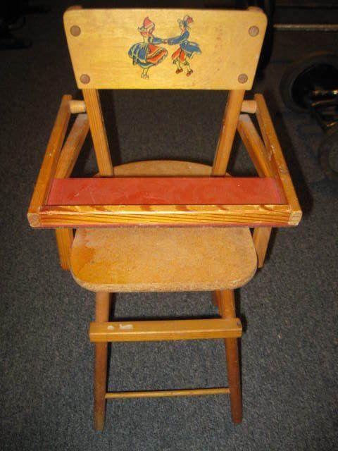 Vintage Dolls High Chair & Swinging Cradle Wood/ Vg Cond. - Vintage Dolls High Chair & Swinging Cradle Wood/ Vg Cond. French
