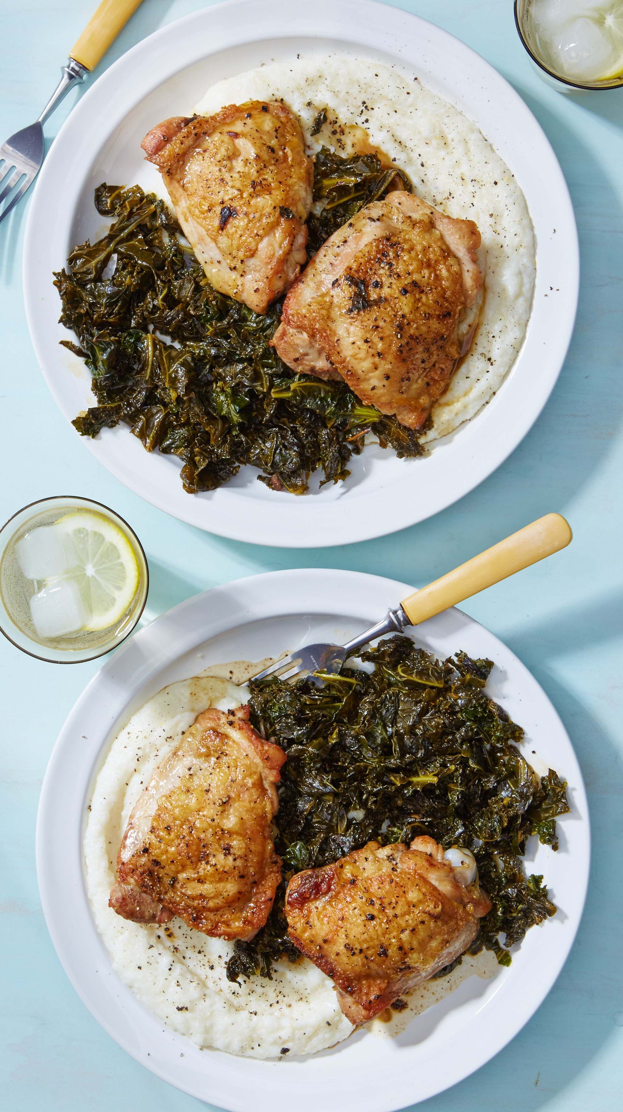 It's easy to love braised chicken, and even easier to love the true stars of this dish: cheesy grits and wilted kale! Sign up for Martha & Marley Spoon to get recipes and ingredients for hearty meals delivered to your door each week!