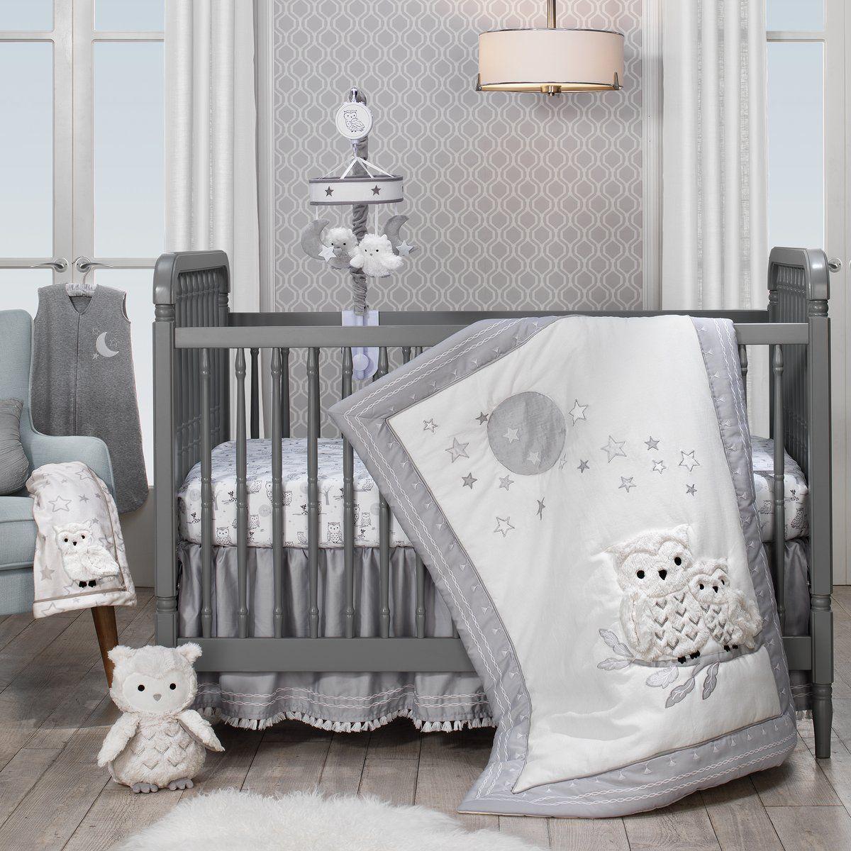 Luna White Gray Celestial Owl 4 Piece Nursery Baby Crib Bedding