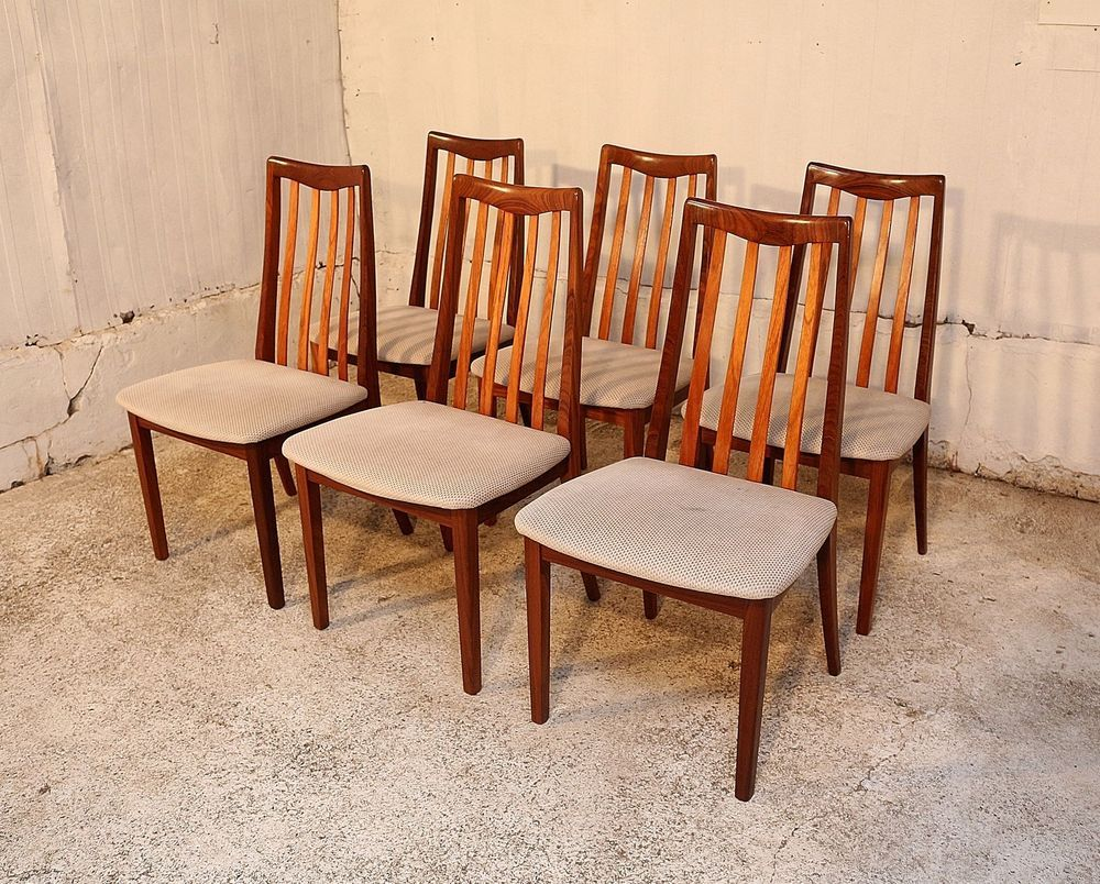 Retro Style Chairs 6 G Plan Dining Chairs Solid Teak Retro Style Velvet Upholstery