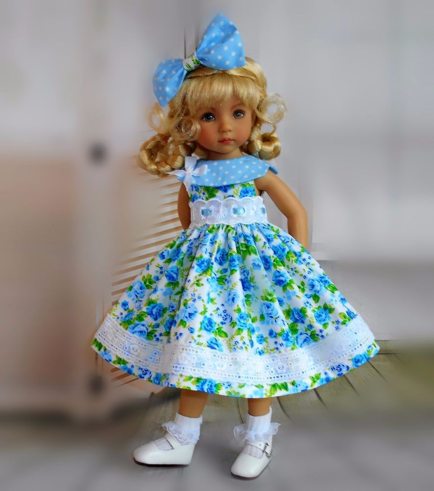 """dress & hair bow compatible with  Dianna Effner 13"""" little darling doll #Unbranded"""