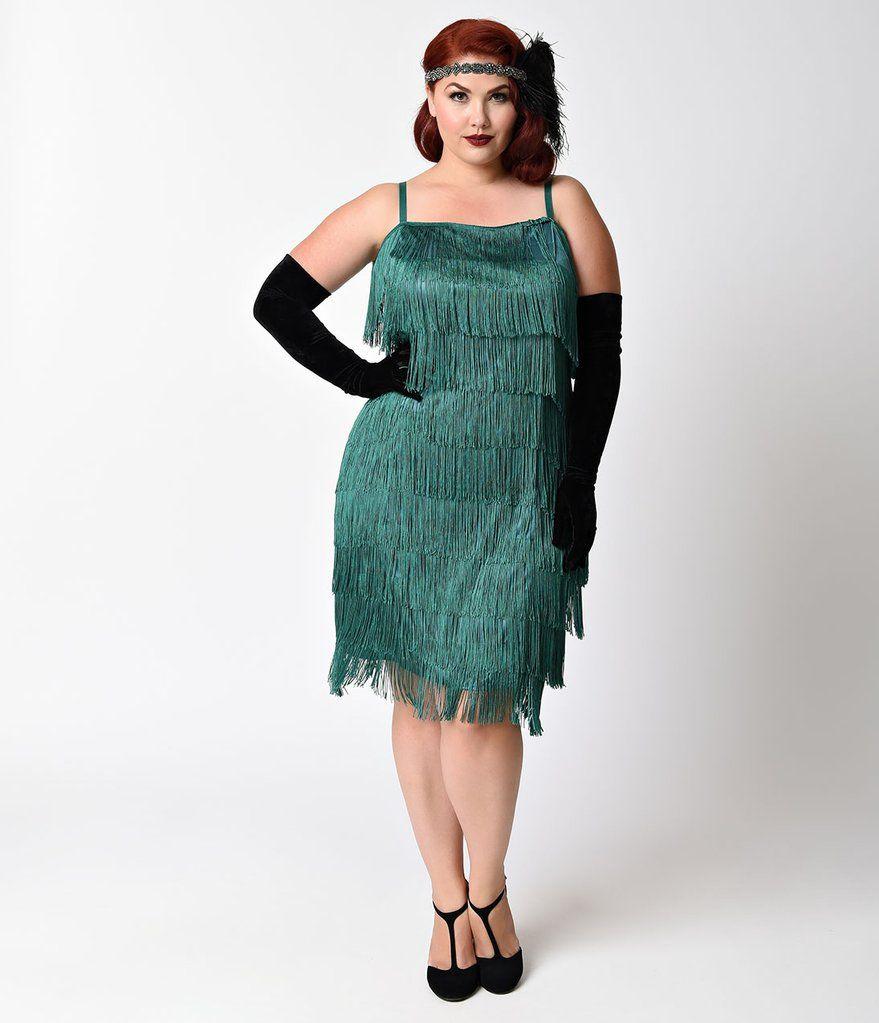 Unique Vintage Plus Size Emerald Green Speakeasy Tiered Fringe ...