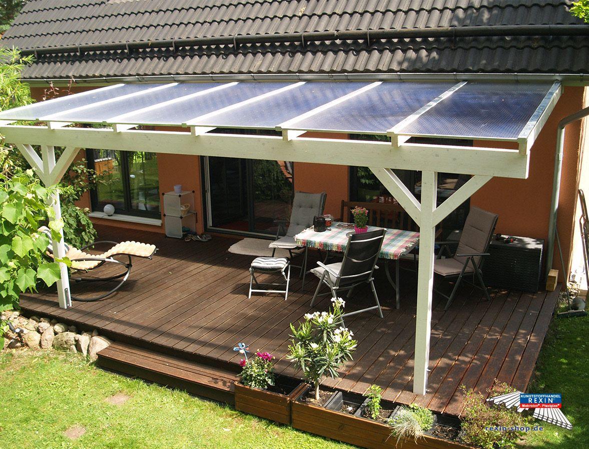 Ein Holz Terrassendach Der Marke Rexocomplete 6m X 2 5m Mit Transparenten Rexoclear 16mm Pc Stegpl Terrasse Uberdachung Holz Uberdachung Terrasse Terrassendach