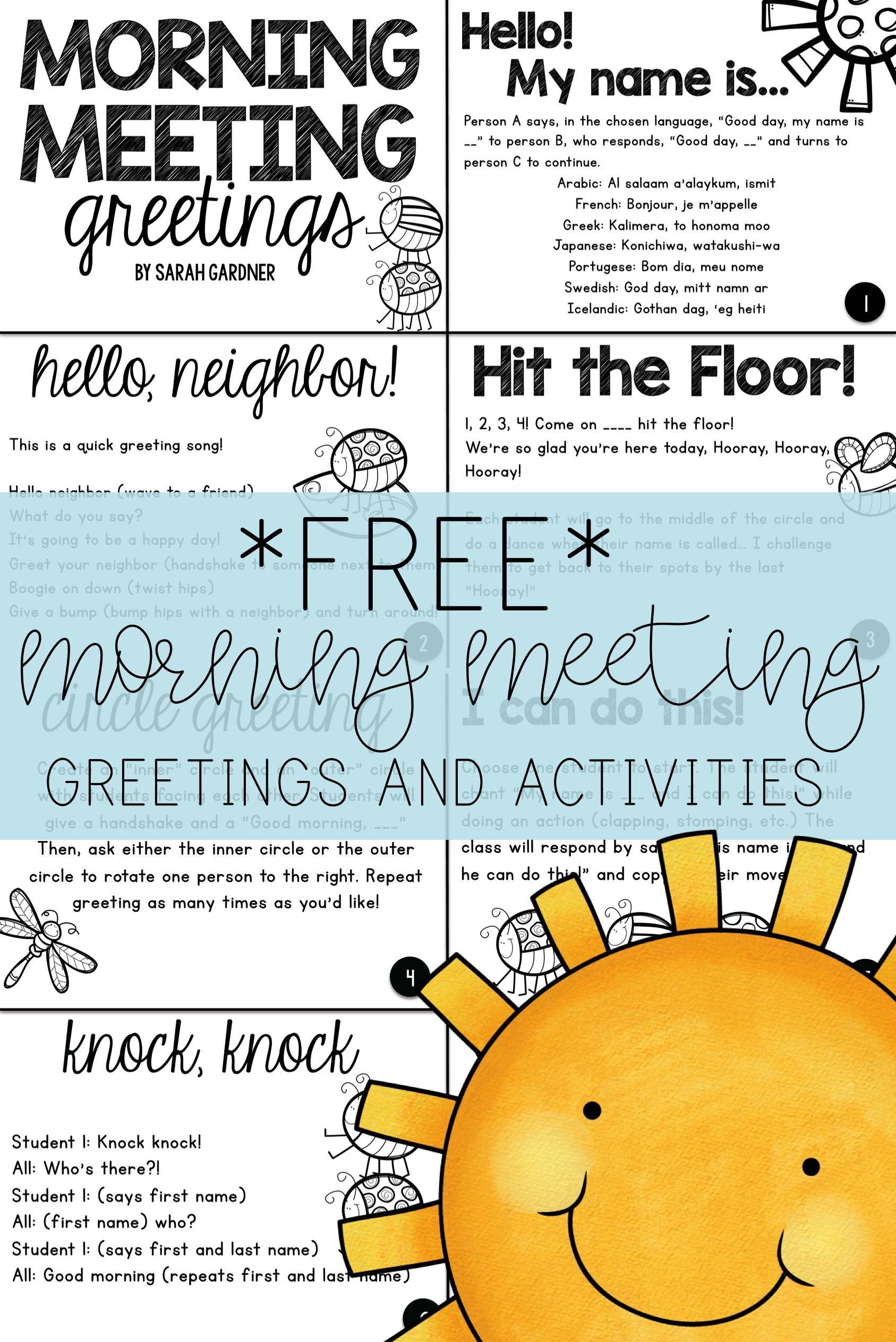 Morning Meeting Greetings Amp Activities