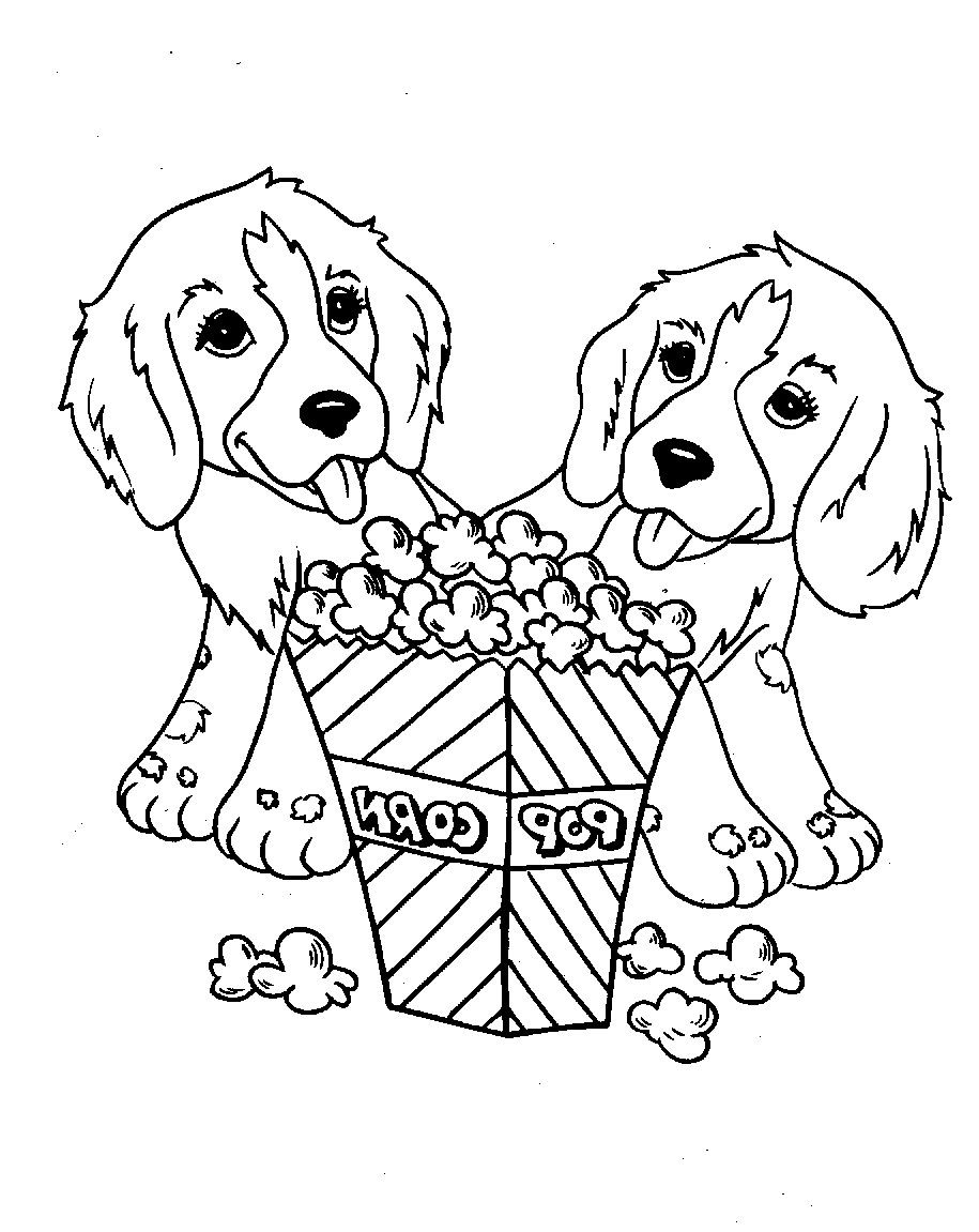 Two Dog Eat Popcorn Coloring For Kids Adult Coloringdiane