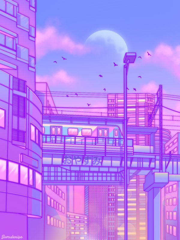Cosmic City Train Mini Art Print By Surudenise Without Stand 3 X 4 In 2020 Aesthetic Wallpapers Anime Scenery Wallpaper Aesthetic Pastel Wallpaper
