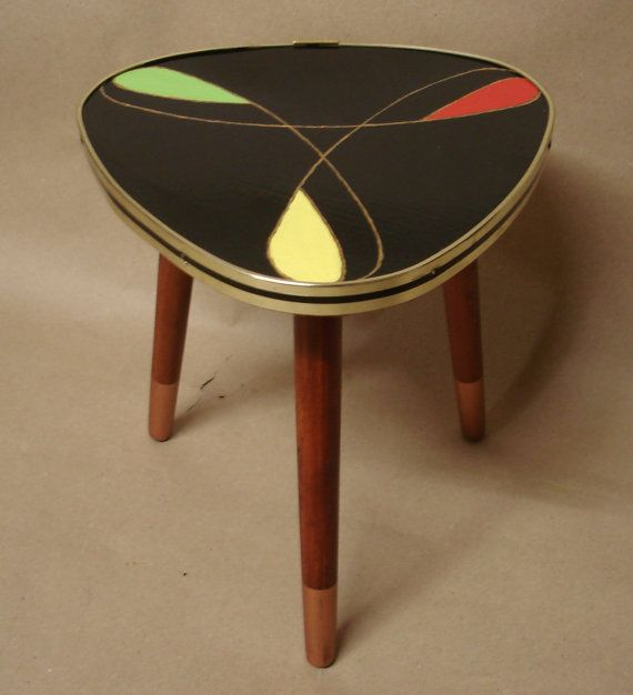 Vintage Plant Stand Triangle Table Tripod, black swirl color, 60s Retro Space Age German Midcentury