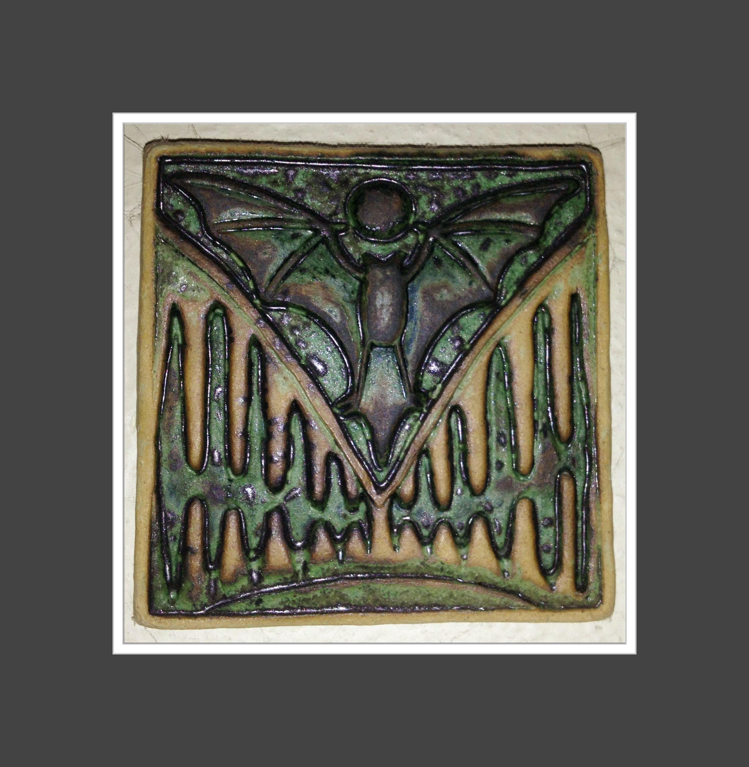 Bat Ceramic Tile Arts Crafts Artist Pooka Ness