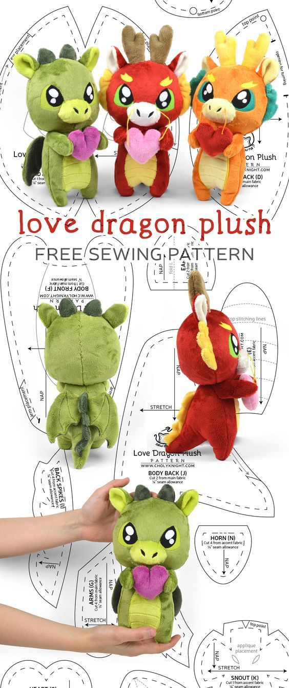 Free sewing tutorial: Make an adorable little dragon in either an ...