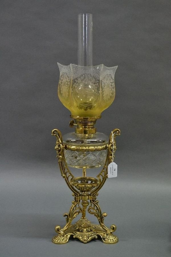 Antique cast brass framed cut crystal oil lamp, approx 40 cm ...