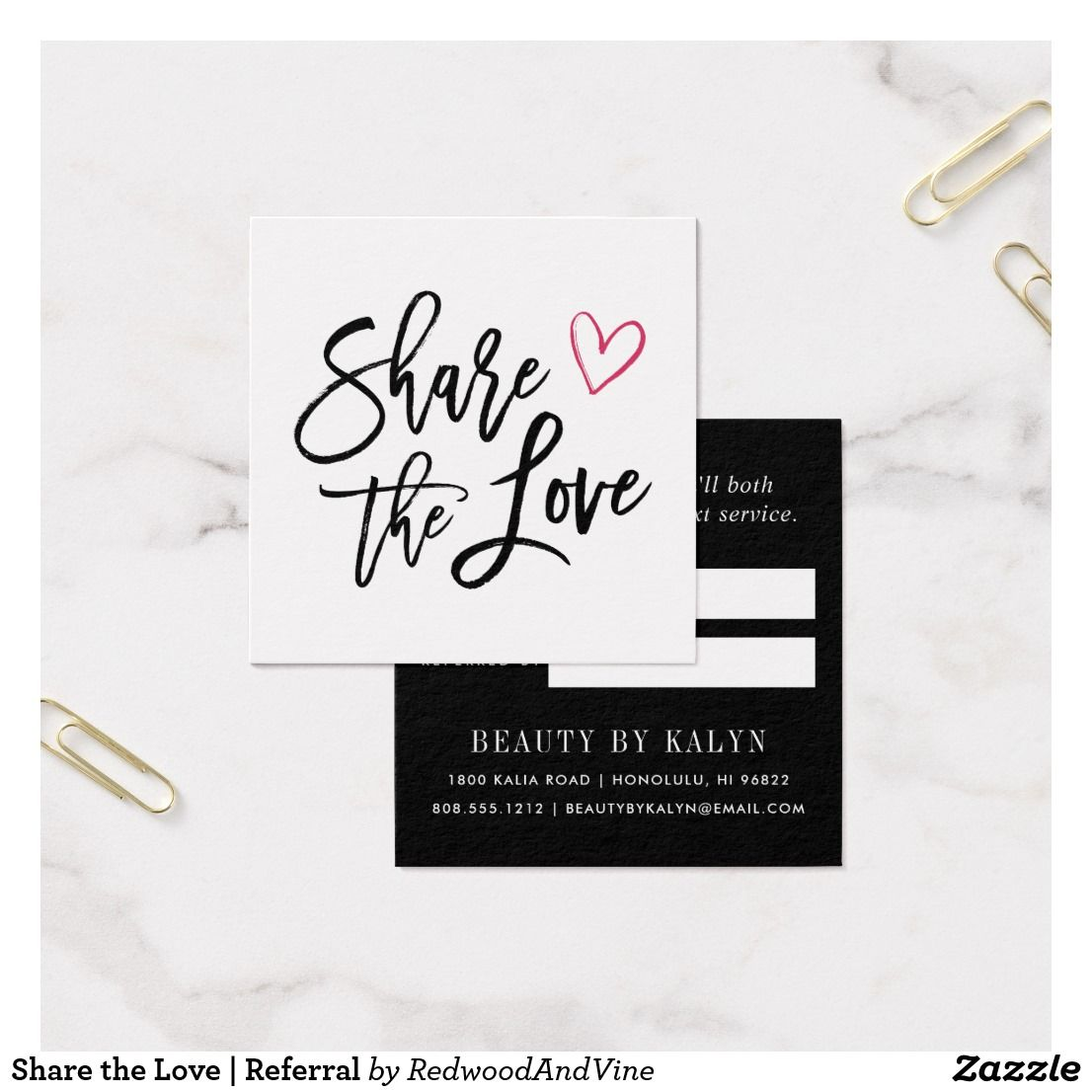 Share the love referral square business card business business cards reheart Image collections