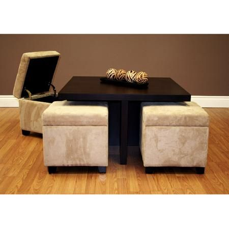 Club Coffee Table With 4 Storage Ottomans Chocolate And Beige Walmart Com Coffee Table Coffee Table With Seating Coffee Table With Stools