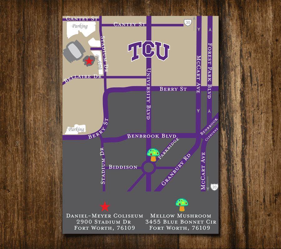 Custom Map For Graduation Announcement Campus Map Tcu Texas