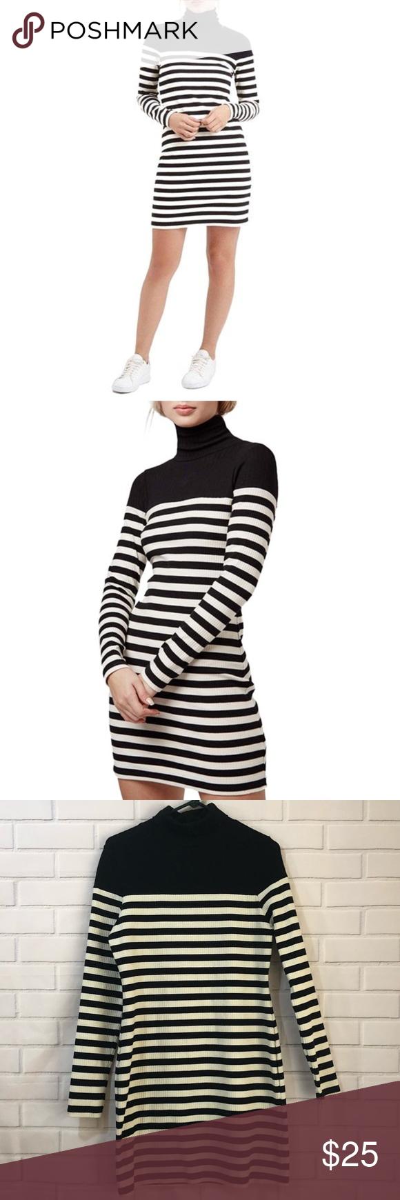 Topshop turtleneck black long sleeve bodycon dress pinterest