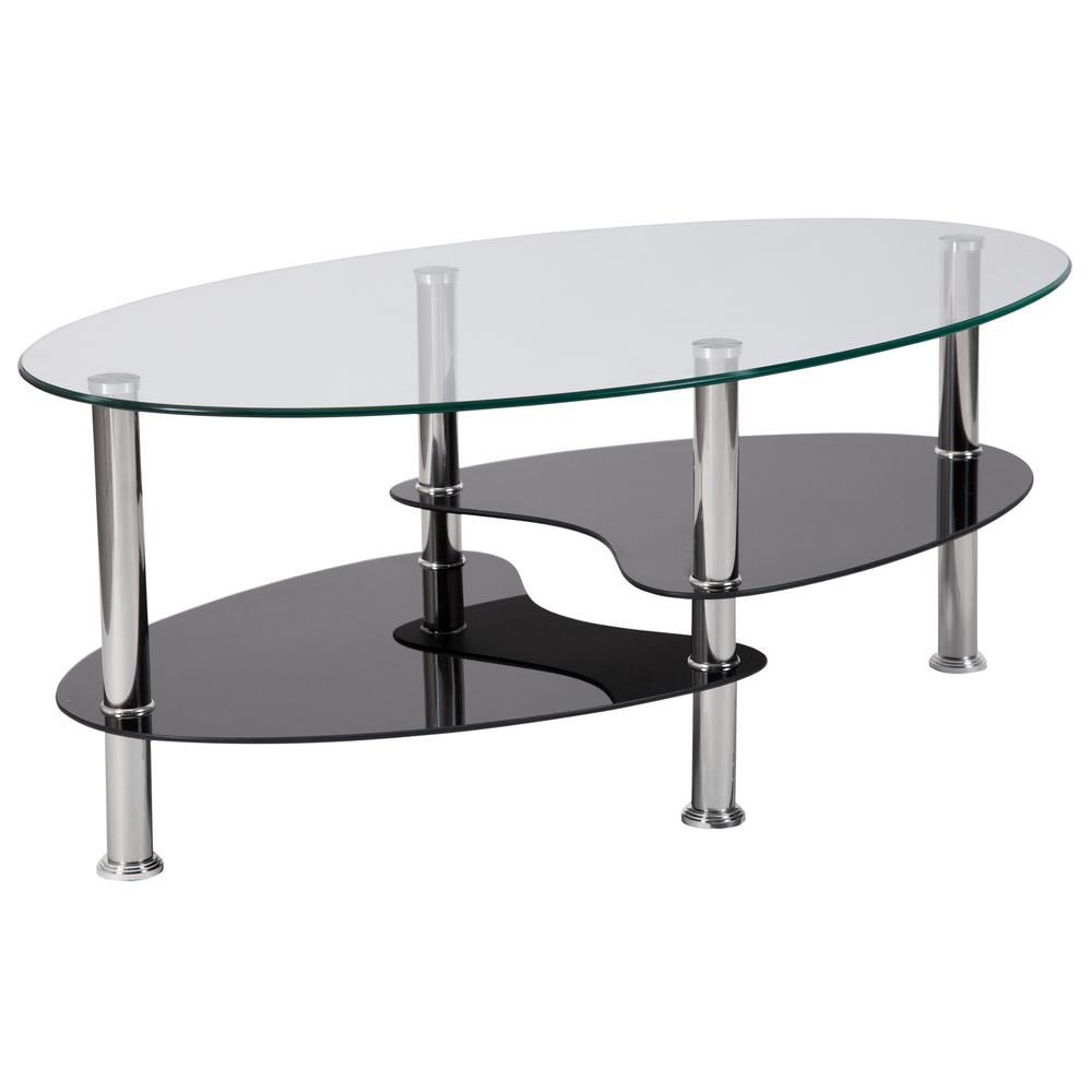 Carnegy Avenue 40 In Clear Stainless Steel Medium Oval Glass Coffee Table With Shelf Cga Hg 214409 Cl Hd The Home Depot Stainless Steel Coffee Table Contemporary Glass Coffee Tables Steel Coffee Table [ 1000 x 1000 Pixel ]