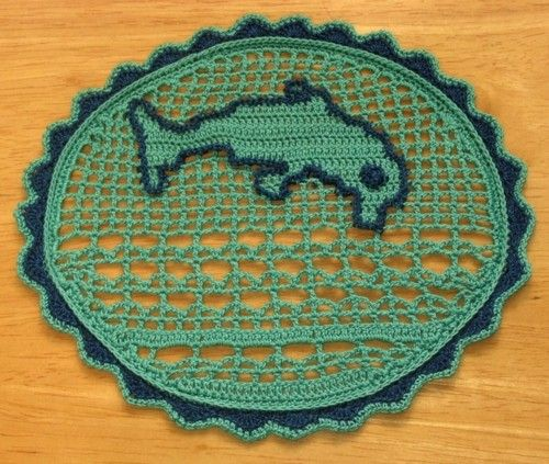 Diving #Dolphin Small #Doily or Applique - Sea Animal Filet #Crochet #Handmade by @rssdesignsfiber #RSSDesignsInFiber #ArtFire