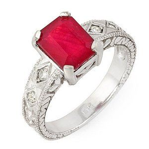 3.0 Ct Natural Ruby and Diamonds Ring... $625.75 #topseller