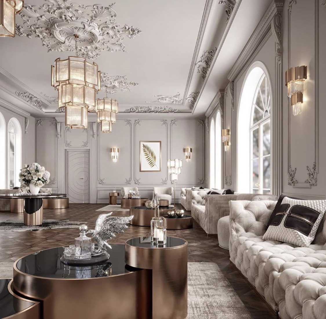 Beautiful all beige and white glam living room decor with ...