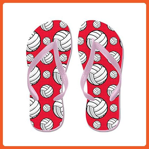 Bright Pink Volleyball Pattern - Flip Flops Funny Thong Sandals Beach Sandals