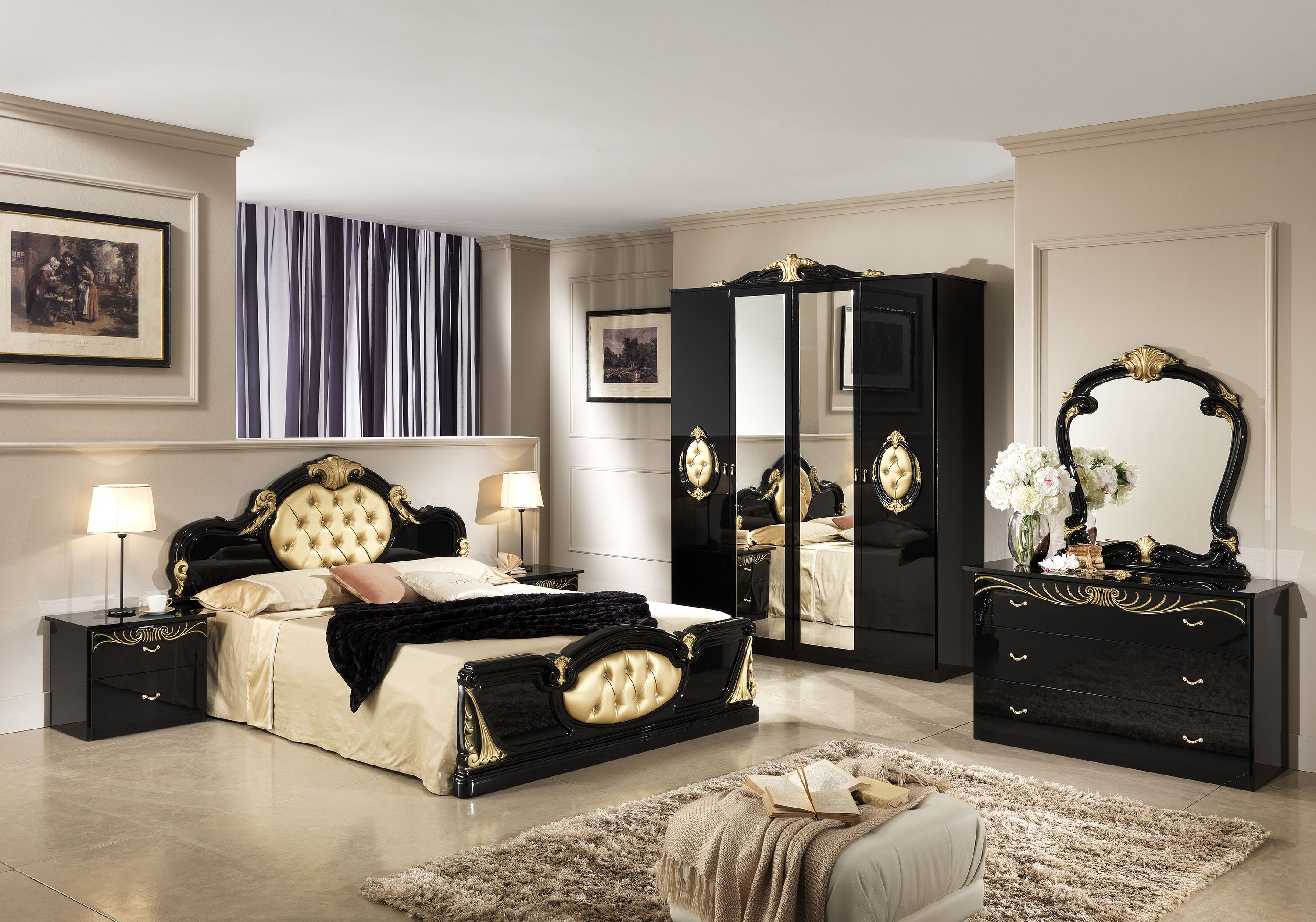 chambre compl te michelle comprenant armoire 4 portes lit 160x200 2 chevets commode. Black Bedroom Furniture Sets. Home Design Ideas