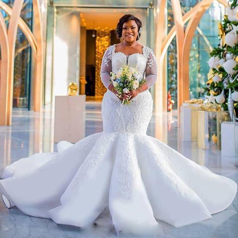 African Plus Size Mermaid Wedding Dresses 2019 Bateau Beaded Pearls Sheer Bateau Neck Wedding Wedding Dress Shopping Perfect Wedding Dress Gothic Wedding Dress