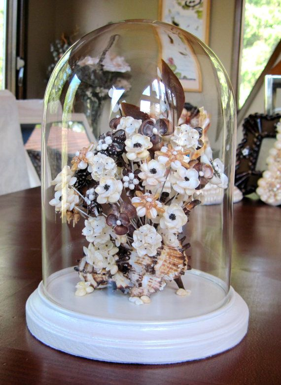 Victorian Seashell Flowers In Gl Cloche Dome 600