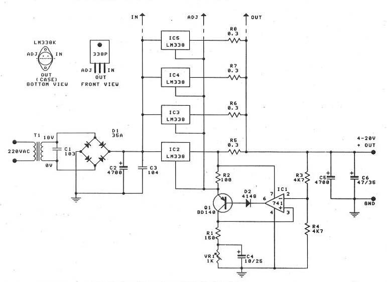0 30v 20a High Power Supply With Lm338 Voltage Regulator Power Supply Circuit Electronic Schematics
