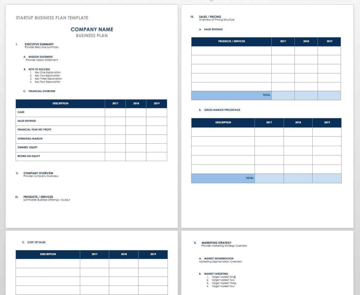 Free Startup Plan, Budget & Cost Templates en 2020