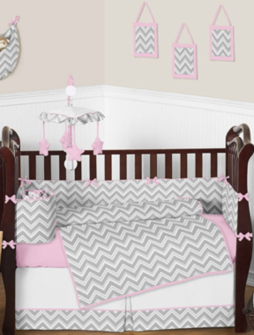Pink And Grey Chevron Baby Bedding Love This For A Baby Girl