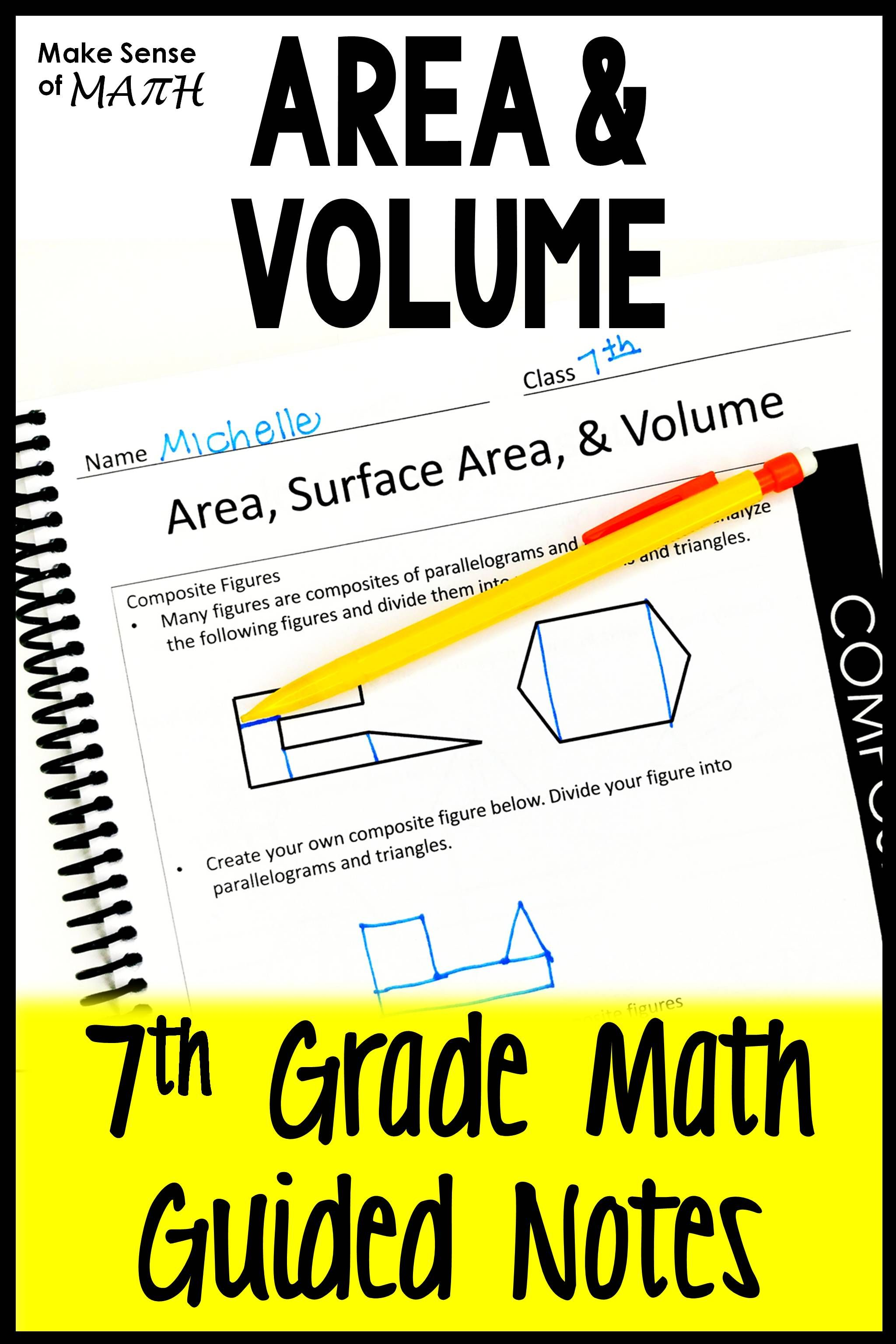 Composite Area Surface Area And Volume Guided Notes